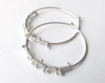 Silver Hoop Earrings, Sterling Silver Hoops, Wire Wrap Dewdrop Lightweight Hoops jewelry Gift for her, womens gift, womanmade