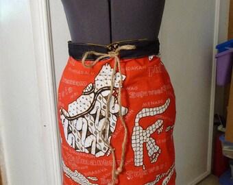 Handmade Skirt, Island Skirt, Maluku Islands,Malaysia Skirt, Red Skirt, Unique Clothing, Recycled Fabric, Drawstring, Philippine Islands
