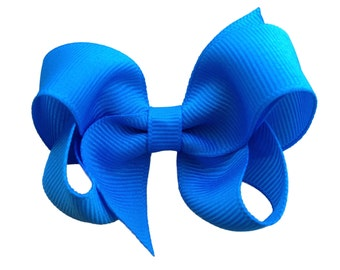 Island blue hair bow - 3 inch blue bow, boutique bows, girls hair bows, girls bows, toddler bows, baby bows, blue hair bows, hair bows, bows