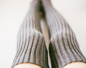 Ribbed KNITTED Thigh-High LEG WARMERS: Handmade and Comfortable, Soft, Vegan, Stretchy, Spring, Durable, Sustainable Cotton, Slouchy