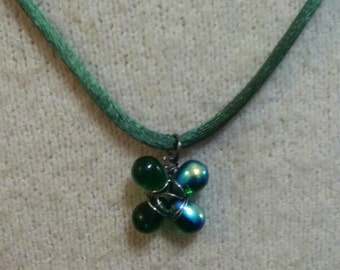 Hand Made Beaded Green Shamrock on Satin Cord