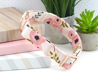 Dog Collar - Watercolor Floral Cotton Fabric Dog Collar - Fashion Dog Collar - Rose Gold Hardware - Sandy Paws Collar Co