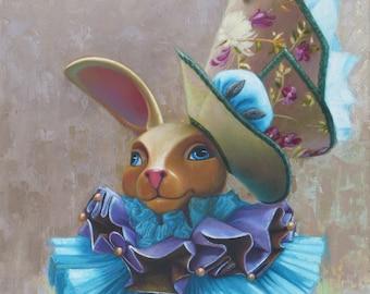 Nursery or childrens room decor, Whimsical giclee print, Sir Rabbity Hopkins