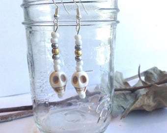 White Skull Earrings with Howlite Stone Skulls, Beaded Dangle Earring, Silver and Gold Beads, Halloween, Day of the Dead, Gothic
