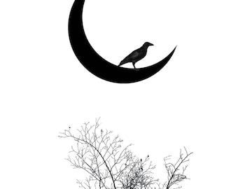 Crescent New Moon Art PRINT - crow fine art print, home decor wall, minimalist mystical raven wicca witch tree spirit animal, modern zen