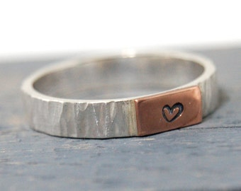 Silver and Copper ring with heart hand stamped, Copper Heart Hand Stamped Ring, Heart Wedding Band, Copper Stamped Heart, Love ring