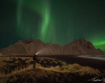 Aurora Borealis Photograph - Iceland, Vestrahorn Mountain - Northern Lights Print, Stokksnes, Astrophotography, Night Sky Photo, Green