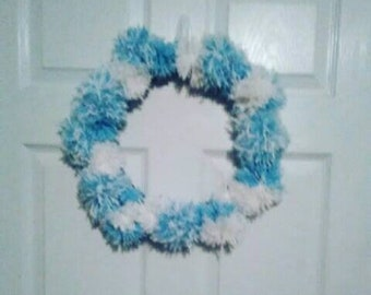 Blue and white pom pom wreath