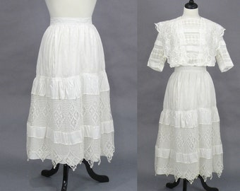 Edwardian White Cotton Crochet Lace Skirt, Antique 1910s Petticoat, Bohemian Skirt