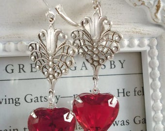 Red Heart Art Deco Earrings Art Deco Jewelry Valentine's Day Earrings Heart Jewelry