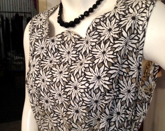 Vtg. 1950's Cut Out See Through Floral Sun Dress/OH MY