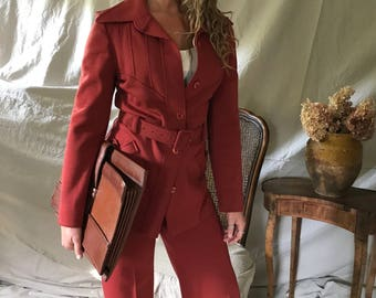 1970s Knit Wool Pant Suit, Rust, Belted Jacket, Pants, Size Small