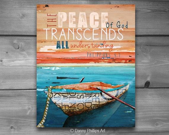 ART PRINTABLE, Philippians 4:7, Peace, Tranquility, Christian gift, Scripture print, Nautical art, ocean, coastal art, 8x10