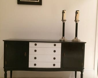 Black satin-and silver frost  sideboard .