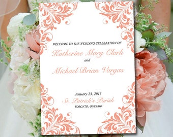 "Fold Over Wedding Program Template Download - DIY Ceremony Program ""Maggie"" Coral Program Order of Service - Half Fold Program Printable"