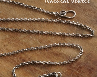 Sterling silver necklace with handmade elegant bail, choose your length
