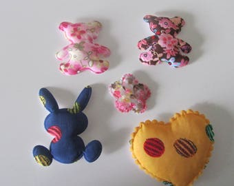 set of 5 characters, flowers, heart, bear, rabbit, padded for decoration