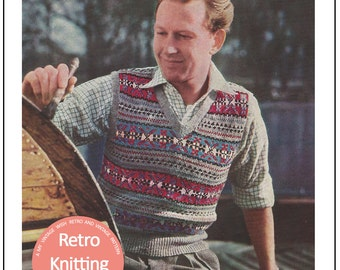1950s Men's Fair Isle Pullover Vintage Knitting Pattern - PDF Instant Download - PDF Knitting Pattern