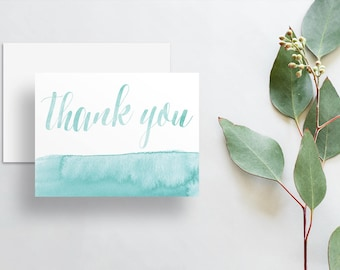Watercolor Calligraphy Thank You Cards / Pale Aqua Seafoam Sea Green Watercolor / Thank You Notes / Printed Folded Thank You Cards