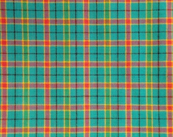 Homespun Fabric | Cotton Fabric | Plaid Fabric | Aqua Color Plaid Fabric | Woven Homespun Fabric | Primitive Fabric | Rag Quilt Fabric