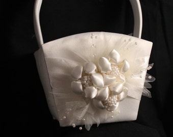 White Satin Flower Girl Basket with White Flowers Pearls and Pearl Spray Accent