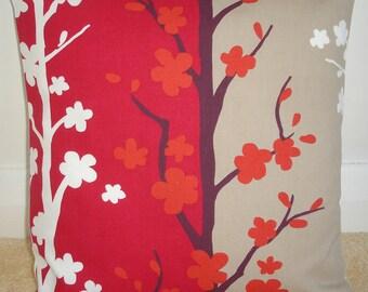 "16x16 Pillow Cover 16"" Orange Aubergine Raspberry Red Beige White Decorative Throw Pillow Cushion Slip Sham Case Pillowcase Blomma Fabric"