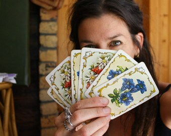 Vintage Botanical Playing Cards, Alpine Flowers Deck of Cards, Boho Games Night, Bridge Rummy Canasta
