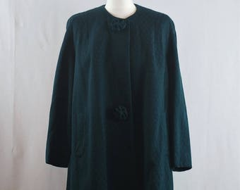 Vintage 1950s Emerald Green Wool A-line Duster Coat