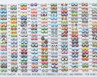 Choose The Design, One Pair of Fabric Button Clip On Earrings, Designs 71 through 140