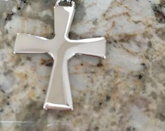 Hand created - Argentium® Silver Cross with Argentium Tube Bail