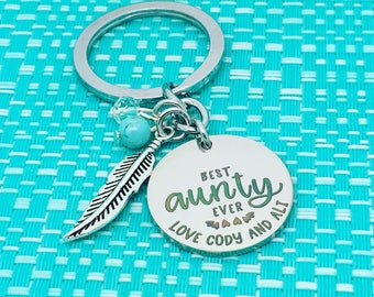 Best Auntie Ever, Personalized Keyring, Best Auntie, Auntie Gift, Auntny, Auntie, Gift For Auntie, Gift For Aunt, Gift From Niece, Handmade
