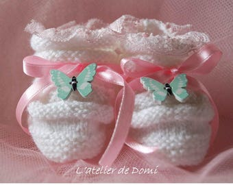 """Baby booties"" White Butterfly ""handmade"