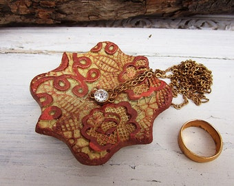 Ceramic Ring Holder Dish, Ceramic Copper Lace Ring Dish, Jewelry Plate, Handmade Pottery Ring Storage, Ready to Ship.