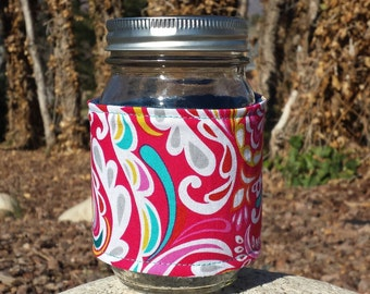 FREE SHIPPING UPGRADE with minimum -  Mason jar cozy / fabric mason jar sleeve / Ball jar cozies - Fountains of Color