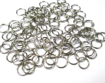 50 7mm color silver plated jump rings