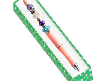 MERZIEs pink PEN drizzle flower lampwork glass bead add-a-bead beadable beads Box or U PICK refill - Made & SHIPs from USA