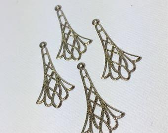 Silver Art Deco Earring Findings  ... set of 4