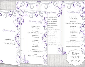 skyline wedding program tri fold printed program wedding