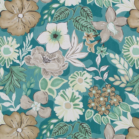 Teal Green Floral Upholstery Fabric Modern Teal Floral