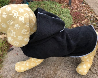 Black Dog Hoodie, S M L lightweight Black Fleece Dogs Jacket Dog Coat, Reflective Ribbing, Designer Fashion Dog Clothing