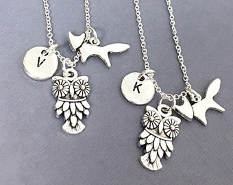 Set of 2 Best Friends Necklaces with Fox and Owl Charms,Set of Two Friendship Necklaces,Bff Necklace,Friendship Necklace Set,Best Friends,