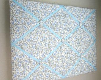 "16""x20"" French Memory Board, Bow Holder, Bow Board, Ribbon Board, Vision Board, Photograph Organizer, Light Blue Floral Memory Board"