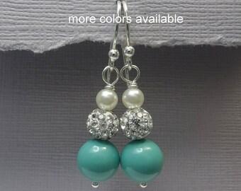 Jade Pearl Earrings, Bridesmaid Earrings, Bridesmaid Gift, Mint Earrings, Wedding Earrings, Bridesmaid Proposal Gift Earrings