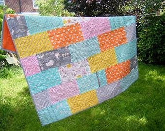 Modern baby quilt, monsterz quilt, organic fabrics, baby blanket, gender neutral, boy girl quilt, patchwork, orange, grey, yellow, pink