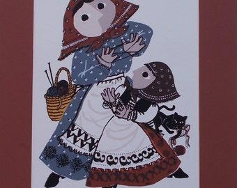 Cat's Cradle, a woodcut/serigraph by Barbara Fernekes Hughes