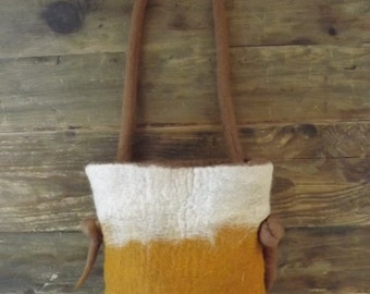 Gorgeous hand felted bag made from natural wool  in Autumn shades = Made to Order