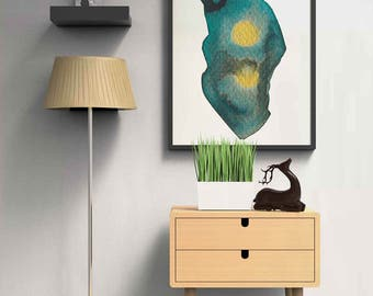 Modern Abstract Watercolor Art Print, Colorful Home Decor, Abstract Green and Gold Art Print, Watercolor Painting Home Decor, Large Wall Art