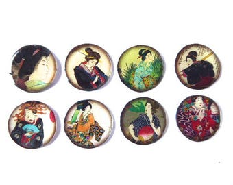 8 cabochon resin 25 mm Asian Japan theme