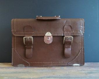 En cuir cartable poignée sac vachette marron attache unisexe sac grande université cartable Valise Vintage Document Office coque rétro années 70