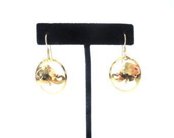 Pair of Wild Bryde Signed Oval Shaped Cutout Hammered Gold Tone Metal Elephant Animal Vintage Pierced Dangle Earrings